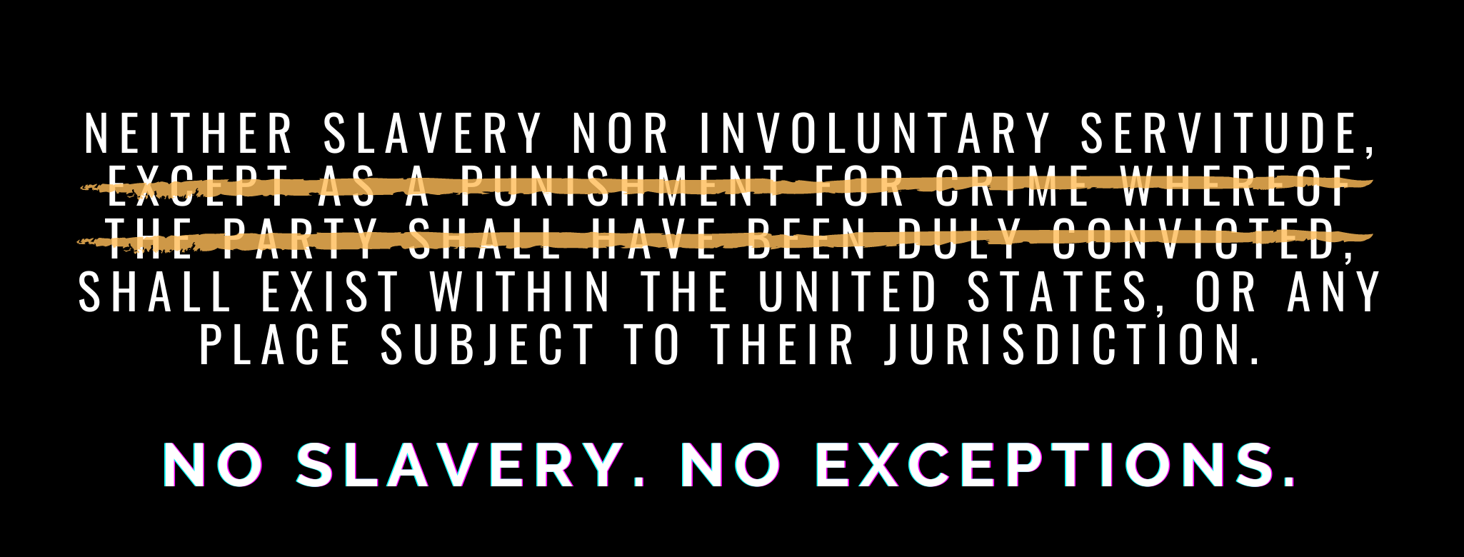 """Neither slavery nor involuntary servitude, except as a punishment for crime whereof the party shall have been duly convicted, shall exist within the United States, or any place subject to their jurisdiction."" The intermediary clause qualifying slavery as punishment for crim is crossed out. Underneath, text reads ""No slavery. No exceptions."""